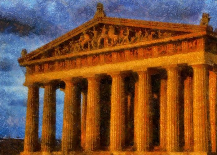Parthenon On A Stormy Day Greeting Card featuring the painting Parthenon On A Stormy Day by Dan Sproul