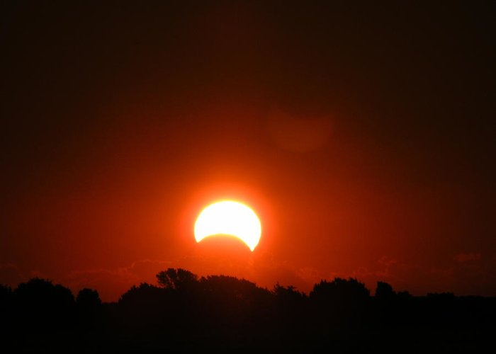 Sunrise Greeting Card featuring the photograph Partial Eclipse by Margaret G Calenda