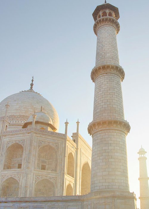 Arch Greeting Card featuring the photograph Partial View Taj Mahal by Grant Faint