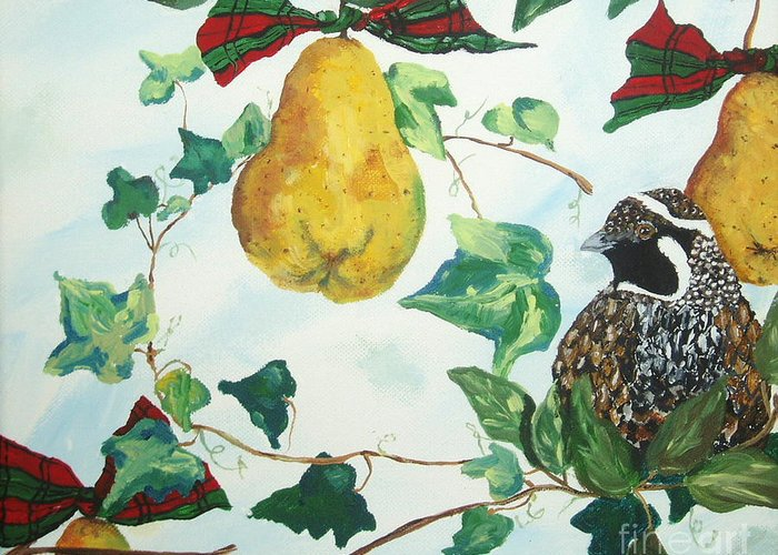 Tree Greeting Card featuring the painting Partridge And Pears by Reina Resto