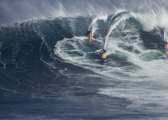 Jaws Greeting Card featuring the photograph Party Wave At Jaws by Brad Scott