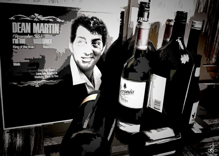 Dean Martin Greeting Card featuring the digital art Partying With Dean by Pennie McCracken