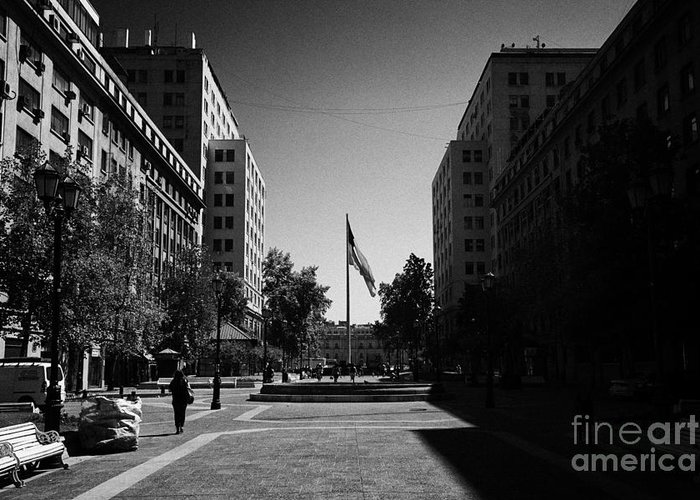 Paseo Greeting Card featuring the photograph paseo bulnes looking towards bulnes square and la moneda palace Santiago Chile by Joe Fox