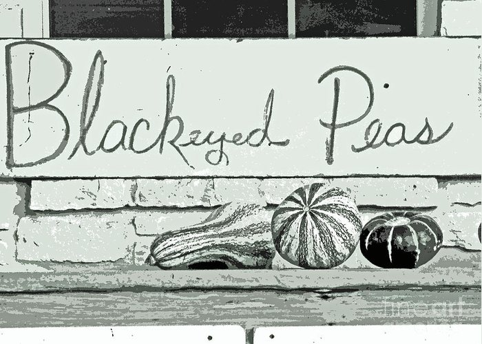 Black And White Horizontal Vegetable Print Greeting Card featuring the photograph Pass The Peas Please by Joe Jake Pratt