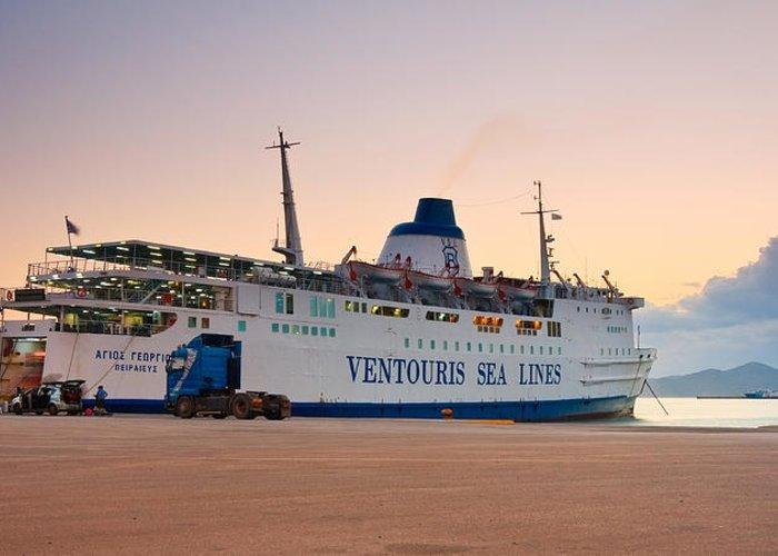 Mediterranean Greeting Card featuring the photograph Passenger Port Piraeus. by Milan Gonda