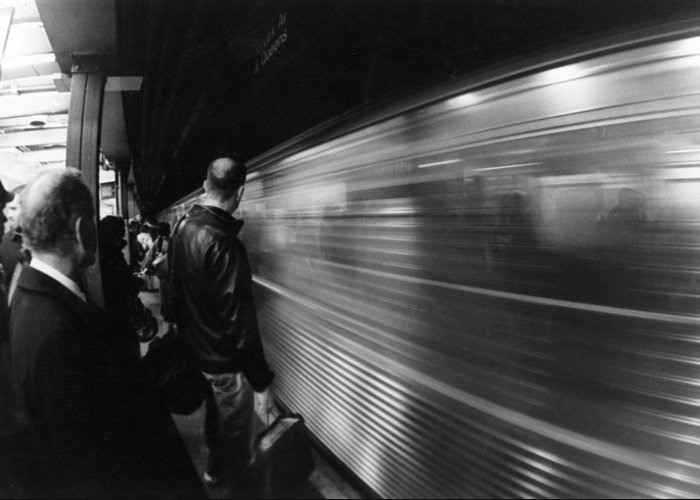 Subway Greeting Card featuring the photograph Passing By by Trevor Garner