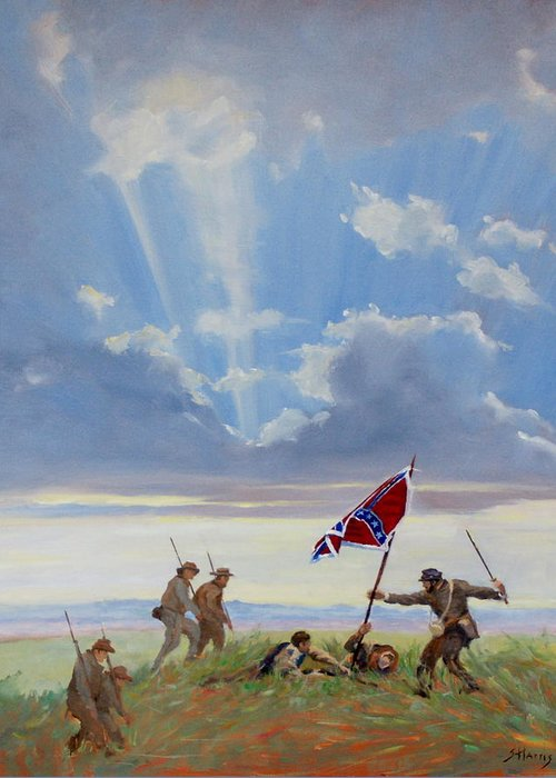 Civil War Greeting Card featuring the painting Passing On The Blood Stained Banner by Sandra Harris