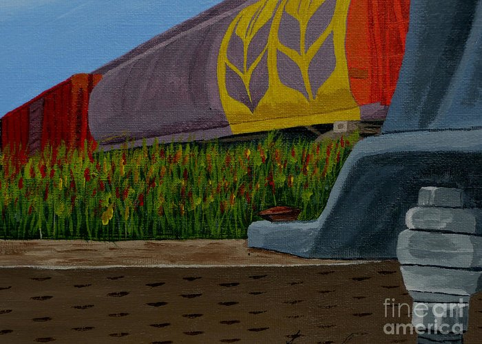 Train Greeting Card featuring the painting Passing The Wild Ones by Anthony Dunphy