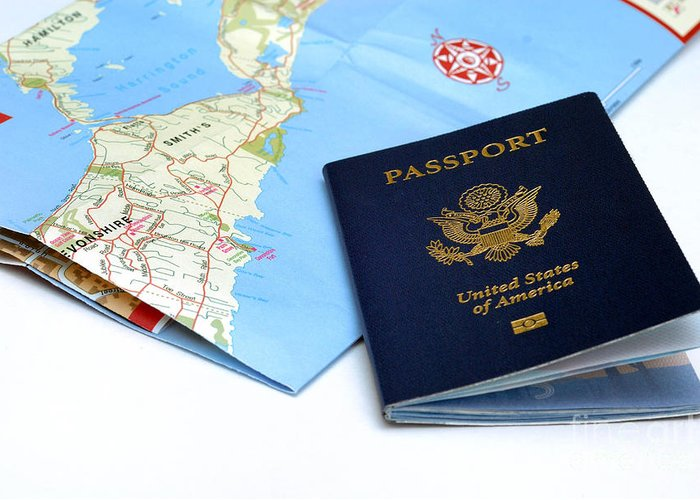 Bermuda Greeting Card featuring the photograph Passport And Map Of Bermuda by Amy Cicconi