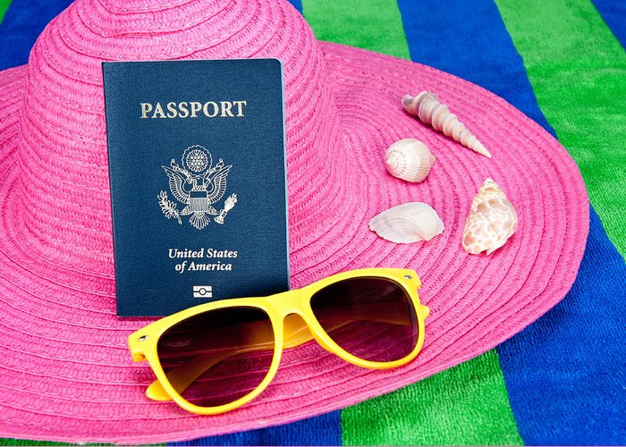 Passport Greeting Card featuring the photograph Passport On Pink Hat by Joe Belanger