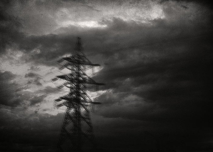 Electricity Wires Greeting Card featuring the photograph Past by Taylan Apukovska