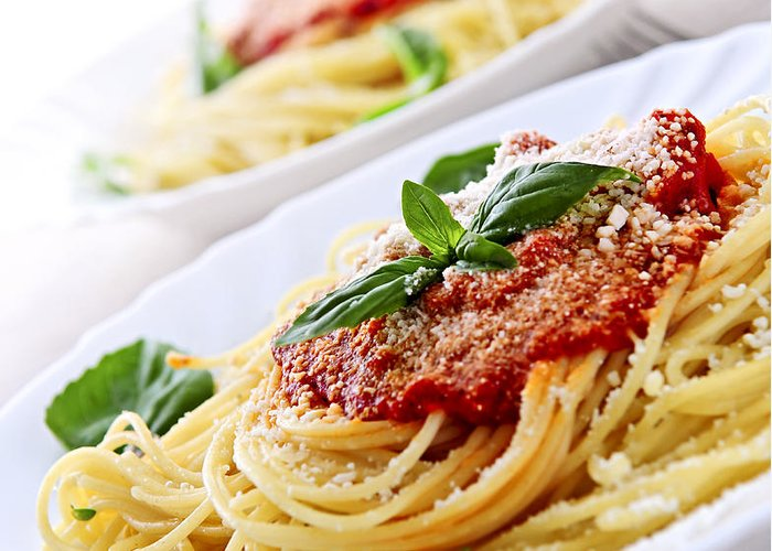 Pasta Greeting Card featuring the photograph Pasta And Tomato Sauce by Elena Elisseeva
