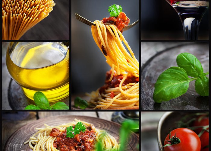 Pasta Greeting Card featuring the photograph Pasta Collage by Mythja Photography