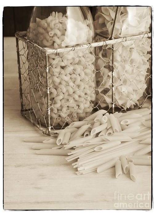 Basket Greeting Card featuring the photograph Pasta Sepia Toned by Edward Fielding