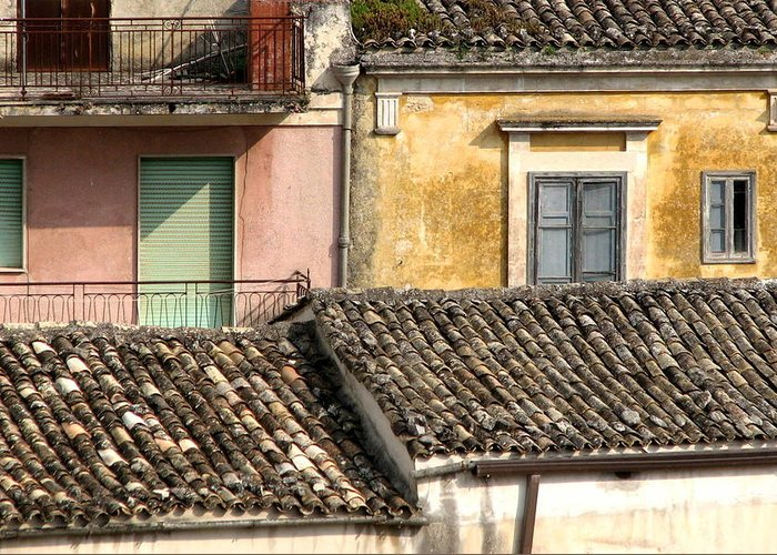 Sicily Greeting Card featuring the photograph Pastel Roofscape by Annie DeMilo
