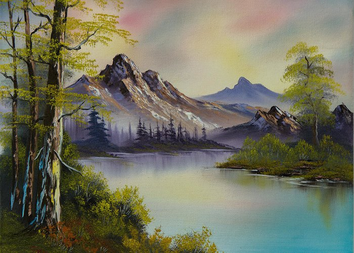 Landscape Greeting Card featuring the painting Pastel Skies by Chris Steele
