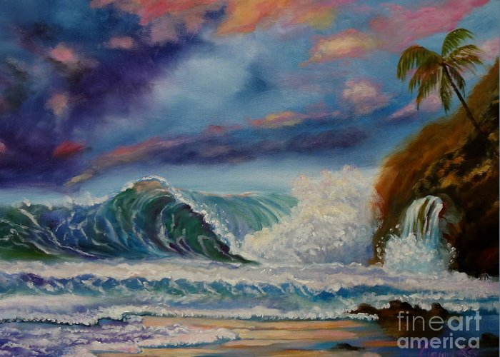 Hawaiian Sunset Greeting Card featuring the painting Pastel Sunset by Jenny Lee