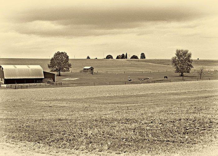Pennsylvania Greeting Card featuring the photograph Pastoral Pennsylvania Sepia by Steve Harrington
