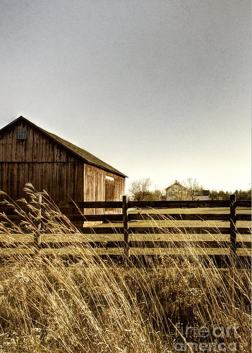 Old; Farm; Barn; Rural; Landscape; Outside; Outdoors; Roof; Country; Countryside; Fence; Barrier; Barricade; Field; Red; Painted; Wood; Door; Wooden; Weeds; Grasses; House; Home; Distance; Sky Greeting Card featuring the photograph Pasture by Margie Hurwich