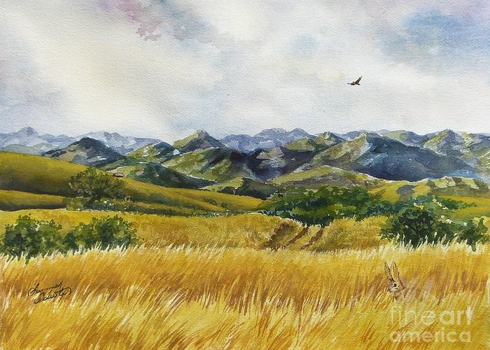 Arizona Greeting Card featuring the painting Patagonia Just Down The Valley by Summer Celeste