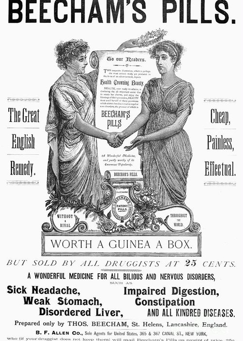 1890 Greeting Card featuring the photograph Patent Medicine Pill, 1890 by Granger