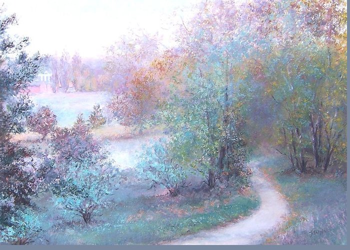 Landscape With Creek Greeting Cards