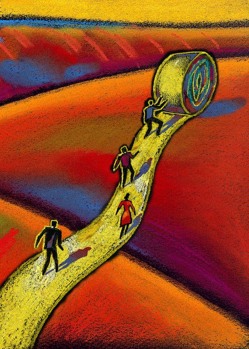 Accomplishment Accountable Achievement Administration Businessman Businesswoman Busy Ceo Challenge Chief Executive Officer Choice Clothes Clothing Co-worker Colleague Commitment Communicating Optimist Option Path People Perilous Persistence Person Personnel Picture Possibility Potential Power Purpose Resolution Resolving Responsibility Risk Risk-taking Road Roadway Salesman Coordination Crossroad Danger Deciding Decision Canvas Prints Greeting Card featuring the painting Path by Leon Zernitsky