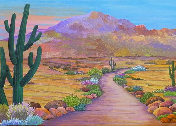 Southwest Greeting Card featuring the painting Path To McDowell Mtn. Phoenix Arizona by Carol Sabo