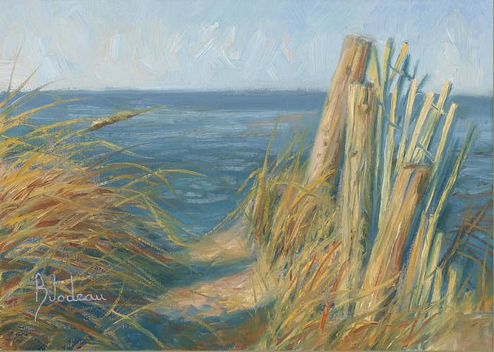 Ocean Greeting Card featuring the painting Path To The Beach by Lucie Bilodeau