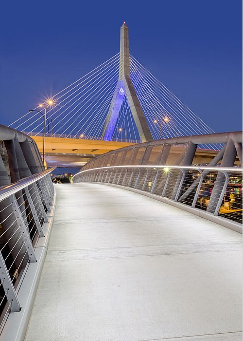 Boston Greeting Card featuring the photograph Path To The Zakim Bridge by Susan Candelario