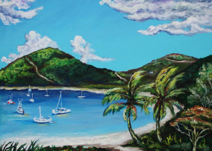 Eve Wheeler Greeting Card featuring the painting Path To White Bay by Eve Wheeler