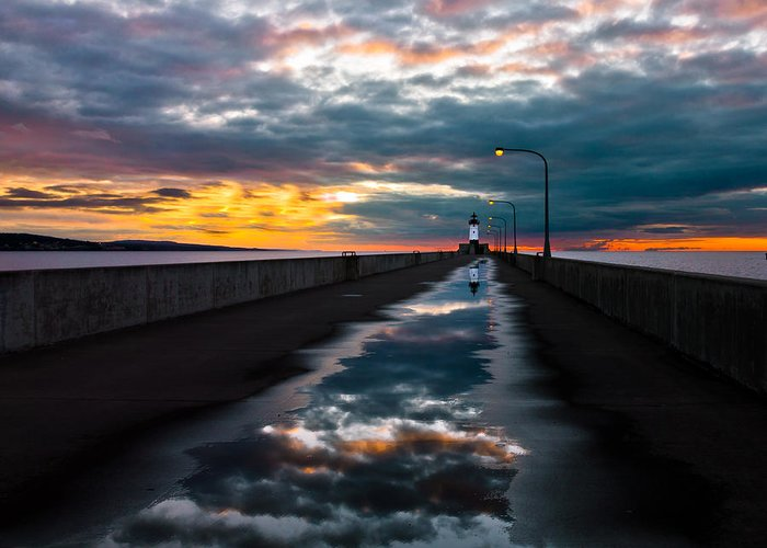 pathway To The Sun after The Rains lake Superior Sunrise reflection sunrise canal Park canal Park Lighthouse Duluth dawn On Lake Superior dawn In Canal Park wow pure Magic!greeting Cardslandscape Greeting Cards nature Greeting Cards Greeting Card featuring the photograph Pathway To The Sun by Mary Amerman