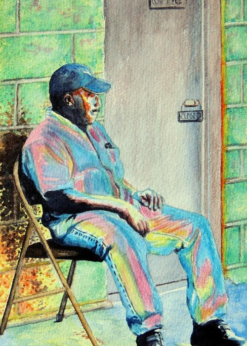 Man Greeting Card featuring the painting Patient  The Noun The Adjective by Ruth Bodycott