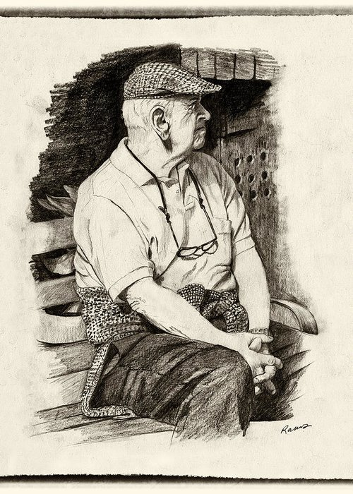 Old Man Greeting Card featuring the drawing Patiently Waiting by Timothy Ramos