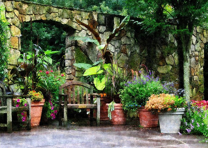 Garden Greeting Card featuring the photograph Patio Garden In The Rain by Susan Savad