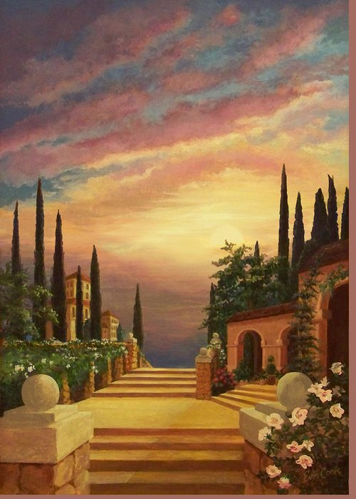 Tuscan Sunset Digital Art Greeting Cards