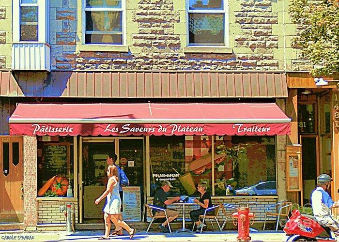 Street Scenes Greeting Card featuring the painting Patisserie Les Saveurs Du Plateau Pique Nique Et Emporter Montreal Cafe Scene Art By Carole Spandau by Carole Spandau