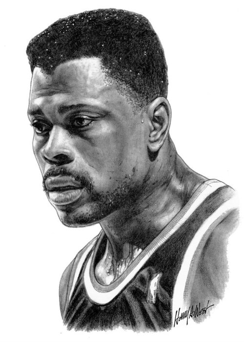 Patrick Ewing Greeting Card featuring the drawing Patrick Ewing by Harry West