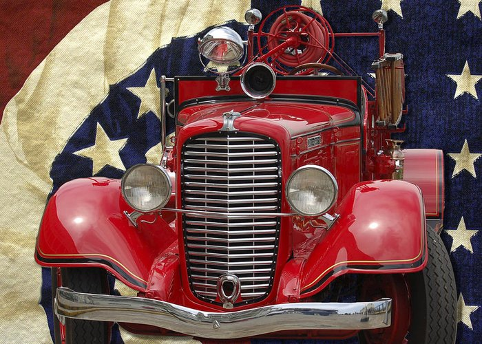 Flag Greeting Card featuring the photograph Patriotic Fire Truck by William Havle