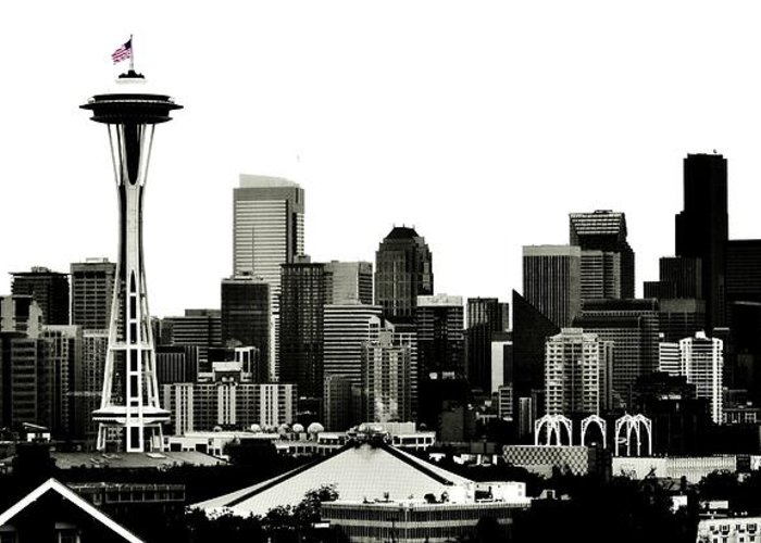 Seattle Greeting Card featuring the photograph Patriotic Seattle by Benjamin Yeager