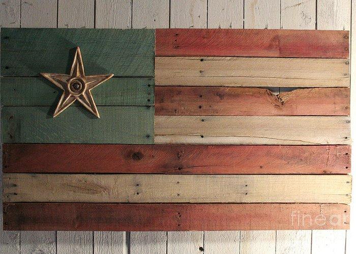 Wood Greeting Card featuring the sculpture Patriotic Wood Flag by John Turek