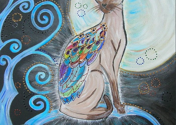 Cat Greeting Card featuring the painting Patronus Cat by Kinga Ile