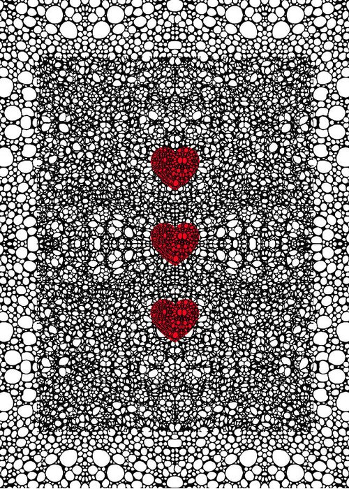 Lace Greeting Card featuring the painting Pattern 34 - Heart Art - Black And White Exquisite Patterns By Sharon Cummings by Sharon Cummings