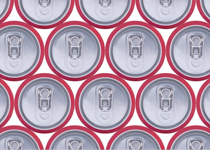 Cola Greeting Card featuring the photograph Pattern Drink Cans by Oscar Hurtado