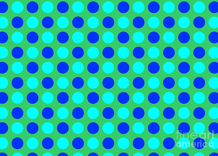Blue Greeting Card featuring the tapestry - textile Pattern Of Circles by Lali Kacharava