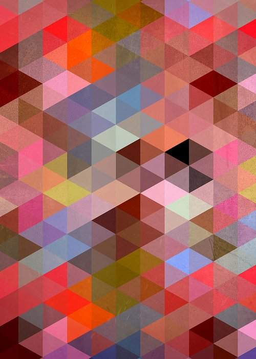 Contemporary Greeting Card featuring the digital art Pattern Of Triangle by Mark Ashkenazi