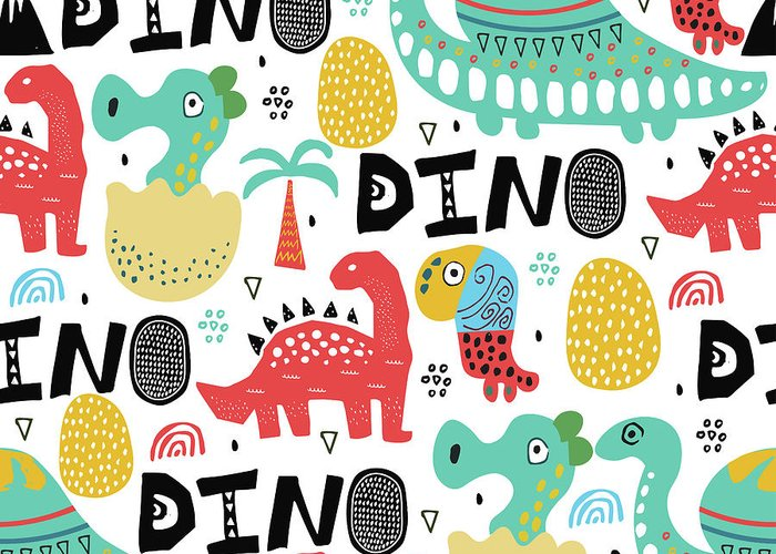 Printmaking Technique Greeting Card featuring the digital art Pattern With Dino,dinosaur With Palms by Olechkaolia