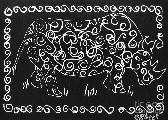 Rhino Greeting Card featuring the relief Patterned Rhino by Caroline Street