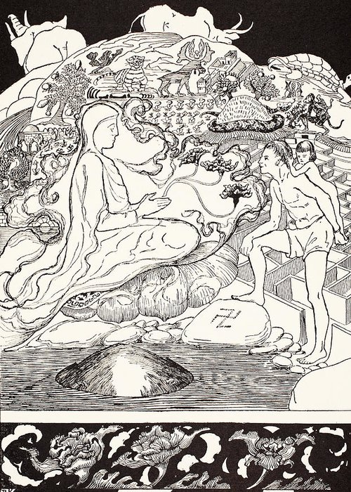 Kipling Greeting Card featuring the drawing Pau Amma The Crab Running Away While The Eldest Magician Was Talking To The Man And His Little Girl by Joseph Rudyard Kipling