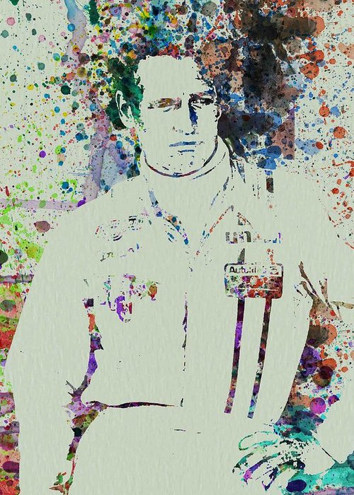 Greeting Card featuring the painting Paul Newman by Naxart Studio